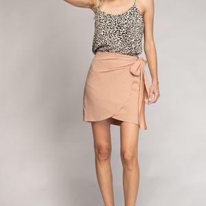 Wrap Mini Skirt, Champagne By Naked Zebra